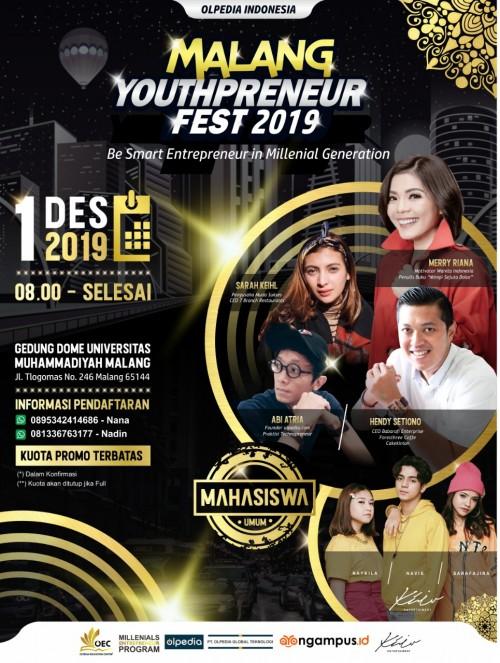 Milenial, Saatnya Menuju Sukses bersama Merry Riana di Malang Youthpreneur Fest 2019