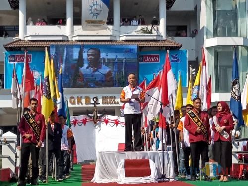 Direktur Kemahasiswaan Ditjen Belmawa Kemenristekdikti, Didin Wahidin saat memberi sambutan dalam pembukaan KKCTBN 2019. (Foto: Imarotul Izzah/MalangTIMES)