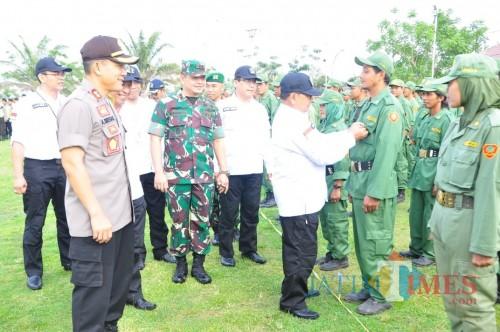 Apel gelar pasukan pilkades serentak yang digelar Pemkab Blitar.