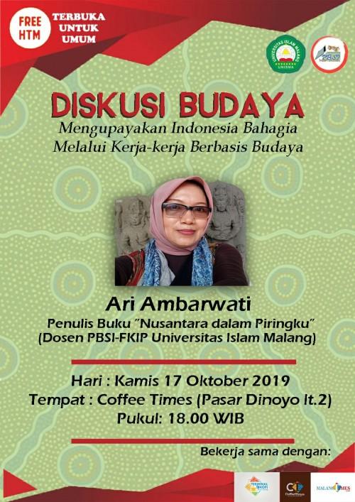 Pamflet Diskusi Mengupayakan Indonesia Bahagia Melalui Kerja-Kerja Berbasis Budaya (Istimewa).