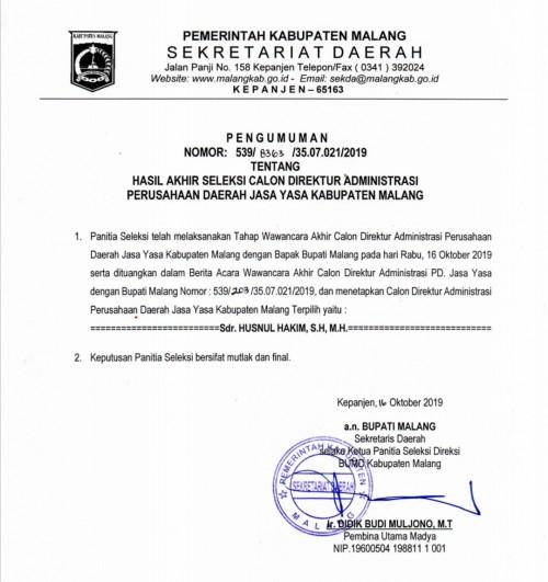 Pengumuman seleksi akhir calon Direktur Administrasi PD Jasa Yasa Kabupaten Malang