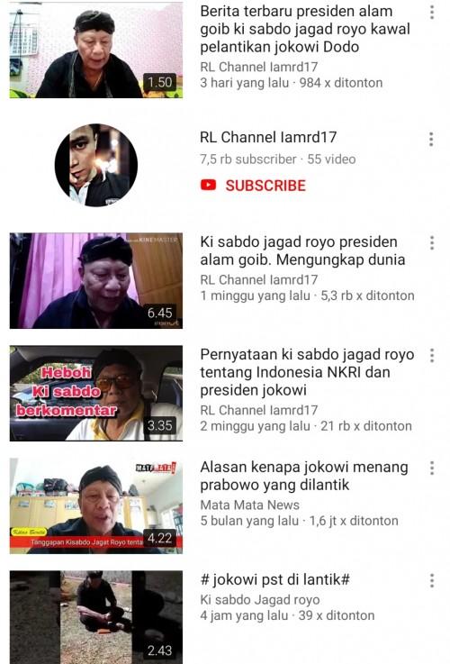 Tangkapan layar akun YouTube Ki Sabdo