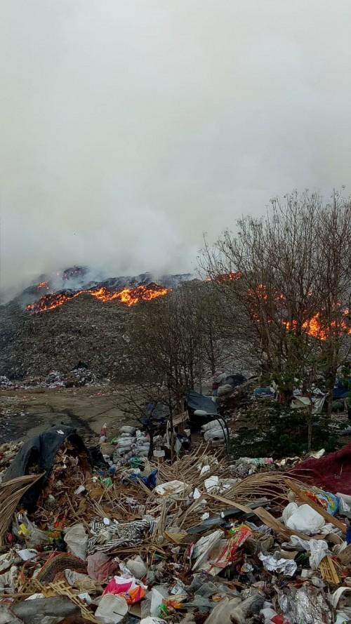 Kondisi terkini kebakaran TPA Supit Urang, Kota Malang (Istimewa).