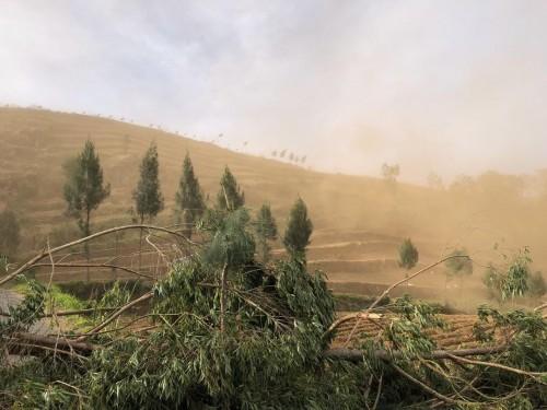 Kondisi debu bercampur angin menyelimuti Desa Sumber Brantas, Kecamata Bumiaji, Minggu (20/10/2019). (Foto: Istimewa)