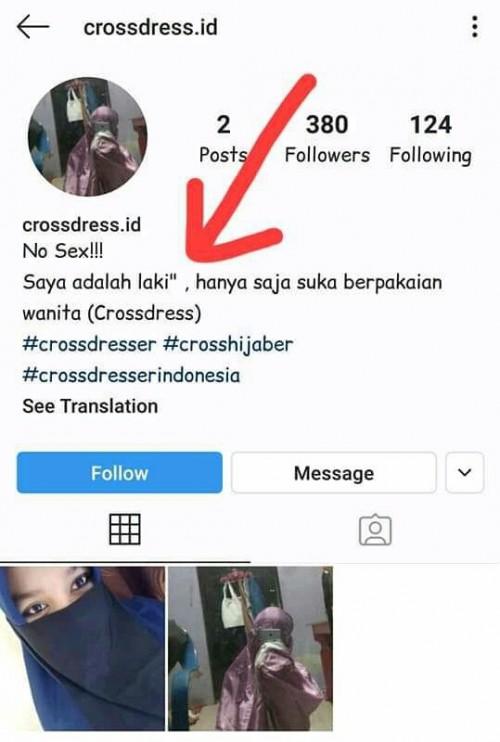 Akun Instagram salah satu cross hijaber. (Foto istimewa)