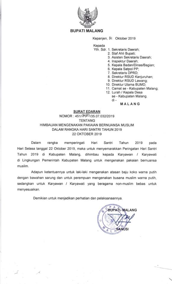 Besok Seluruh Pegawai Pemkab Malang Bersarung Dan Berbusana