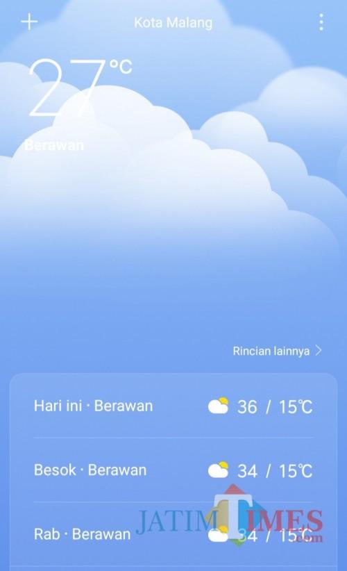 Tangkapan layar suhu udara di Kota Malang, Senin (21/10/2019)