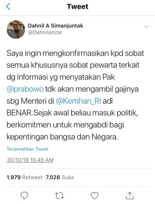 Cuitan Dahnil Anzar Simanjuntak, yang merupakan juru bicara pribadi Prabowo Subianto di twitternya.