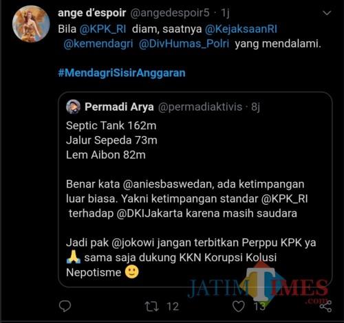 Tangkapan layar warganet yang usung #MendagriSisirAnggaran (Twitter)