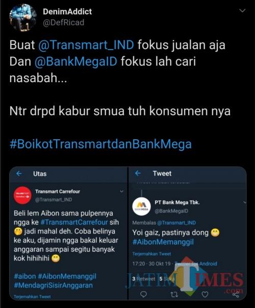 Tangkapan layar boikot Transmart dan Bank Mega. (Twitter)