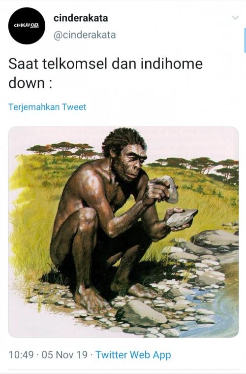 Cuitan warganet di twitter saat jaringan Telkomsel dan Indihome down. (Foto: Twitter)