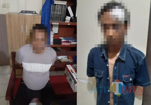 Tersangka Margono dan Jaya Prastya saat diamankan polisi setelah terlibat kasus penganiayaan dan pengeroyokan terhadap anggota TNI (Foto : Humas Polres Malang for MalangTIMES)