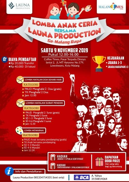 Flyer Lomba Anak Ceria se-Malang Raya.