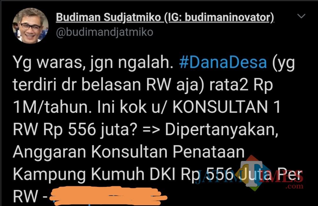 Tangkapan layar akun Budiman Sudjatmiko terkait kritik anggaran konsultan penataan kampung kumuh DKI Jakarta. (@budimandjatmiko)