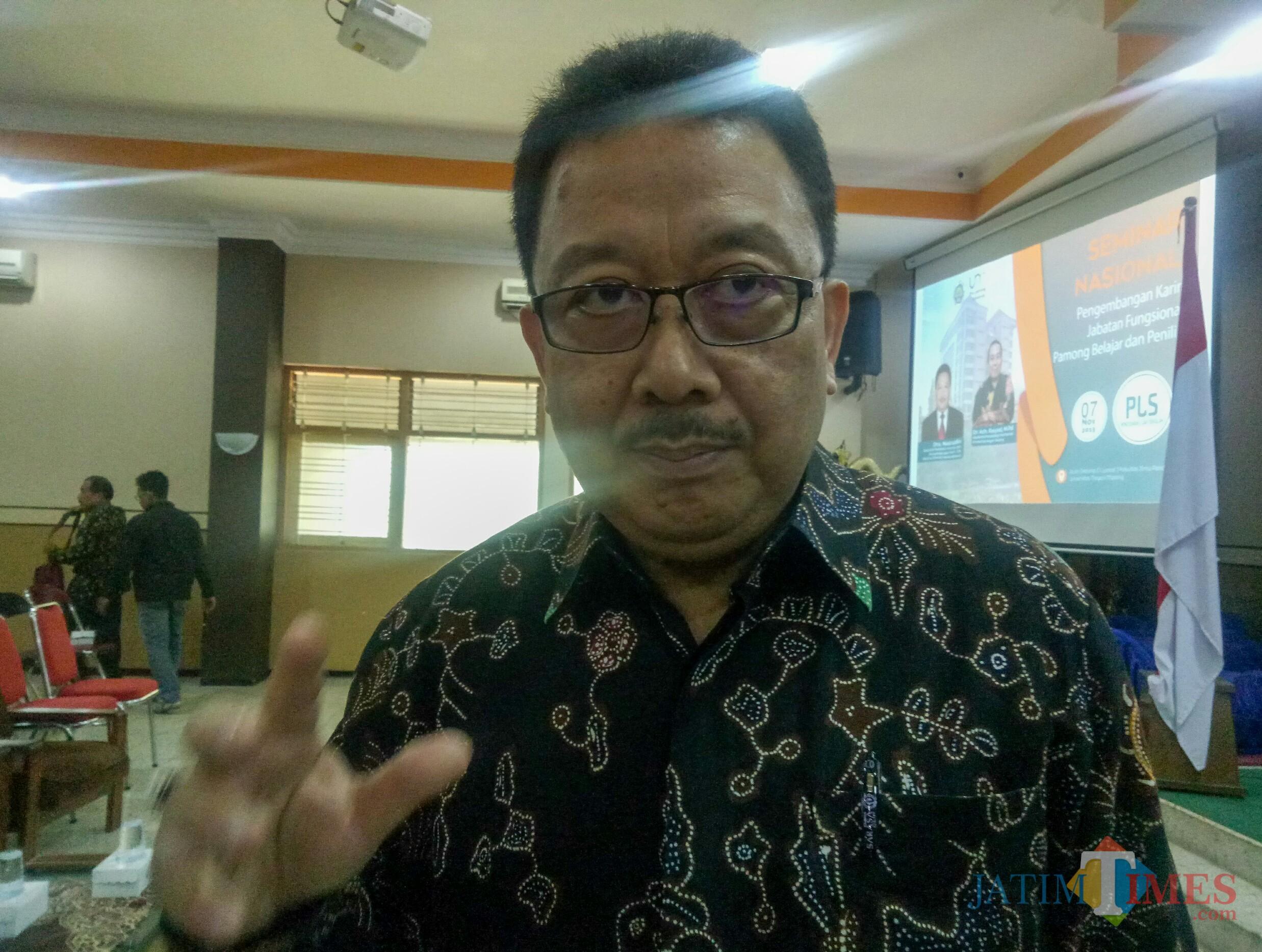 Drs Nasrudin, kasubdit penilaian kinerja dan pengembangan karir GTK PAUD dan Dikmas Kemendikbud. (Foto: Imarotul Izzah/MalangTIMES)
