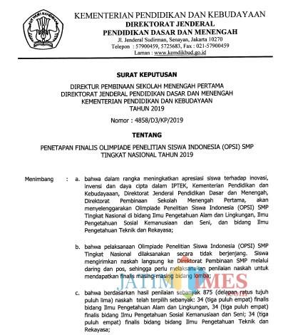 Tangkapan layar SK Kemendikbud RI terkait finalis OPSI 2019, terdapat dua pelajar Kabupaten Malang yang masuk dalam daftar.