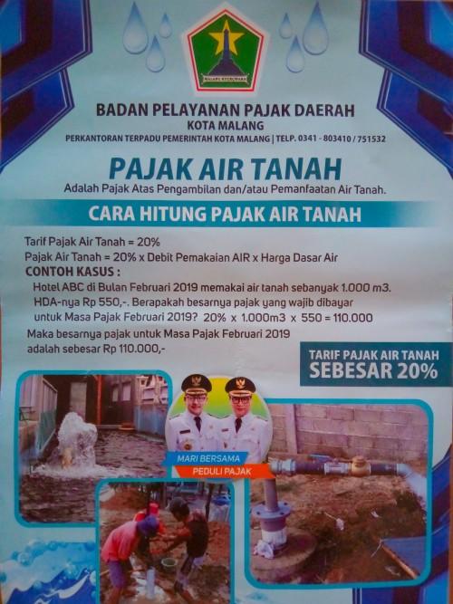 Perhitungan pajak air tanah, (Anggara Sudiongko/MalangTIMES)