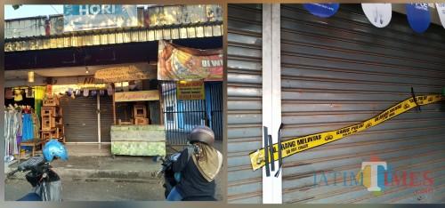 Toko milik Mayar dan police line yang terpasang / Foto : Anang Basso / Tulungagung TIMES