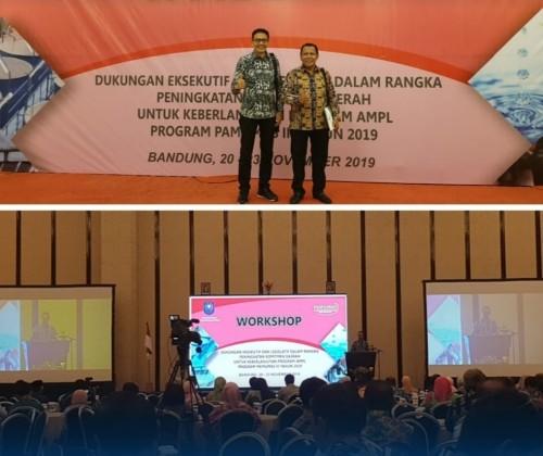 Kepala DPKPCK Kabupaten Malang Wahyu Hidayat (kiri atas) bersama Dirut Perumda Tirta Kanjuruhan Syamsul Hadi dalam workshop terkait sanitasi dan air bersih, beberapa waktu lalu (DPKPCK for MalangTimes)