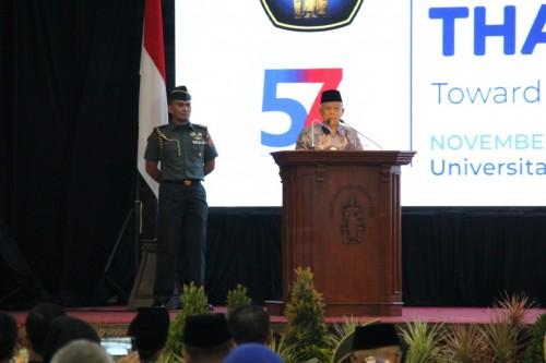 Wakil Presiden  Ma'ruf Amin saat memberi paparan dalam International Halal Festival. (Foto: istimewa)
