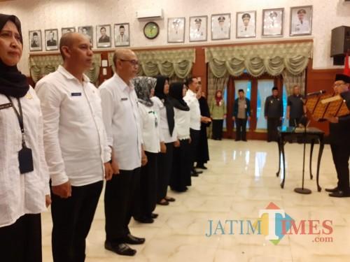Pengambilan sumpah jabatan di lingkungan Pemerintahan Kota Malang (Arifina Cahyati Firdausi/MalangTIMES).