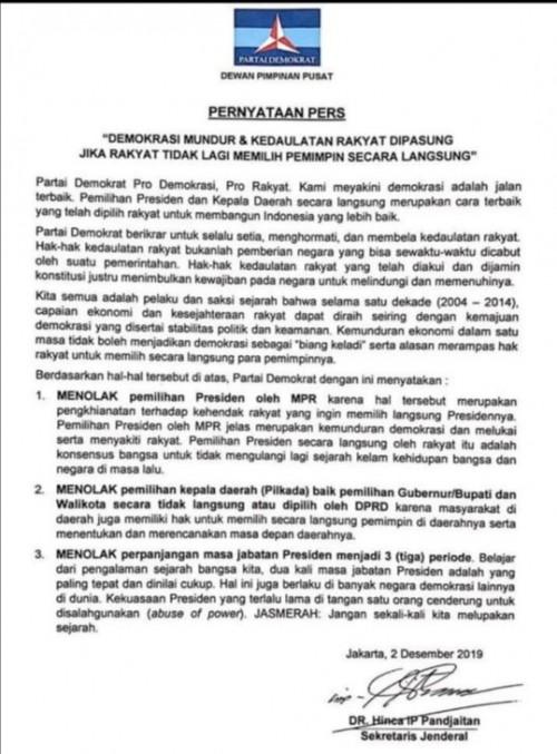 Pernyataan pers terkait sikap Partai Demokrat terkait pemilihan presiden oleh MPR, kepala daerah oleh DPRD dan perpanjangan jabatan presiden 3 periode