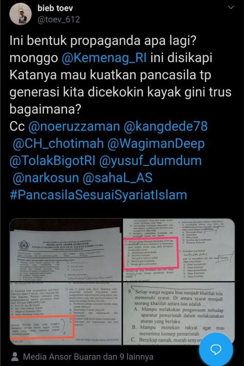 Tangkapan layar @toev_612 terkait soal ujian di MA wilayah Kediri yang berisikan pertanyaan tentang terkait khilafah (Twitter)