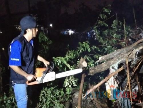 Petugas saat melakukan pemotongan pohon tumbang yang menutup akses jalan usai musibah angin kencang menerjang puluhan rumah warga di Kecamatan Pakis (Foto : PMI Kabupaten Malang for MalangTIMES)