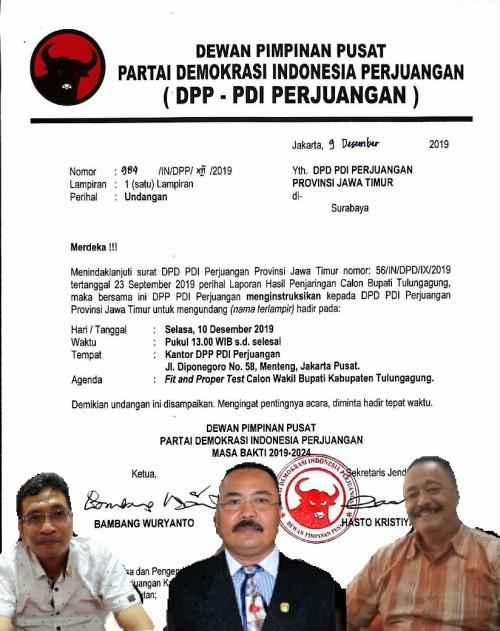 Tiga Balon Wabup Tulungagung PDIP Dipanggil DPP, Siapa Saja?
