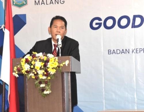 Sekda Kabupaten Malang Didik Budi Muljono memberikan apresiasinya atas gelaran bimtek e-budgeting oleh Diskominfo (Nana)