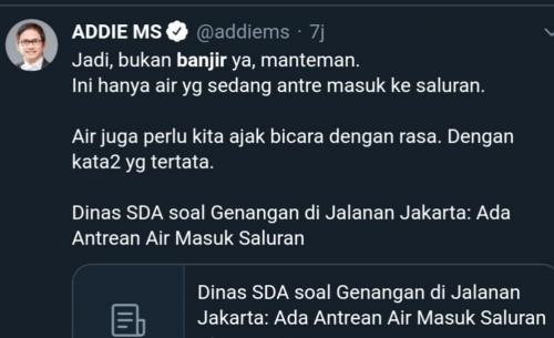 Tangkapan layar @addiems musisi senior Indonesia terkait banjir Jakarta (Twitter)