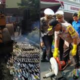 Jelang Nataru, Polres Tulungagung Musnahkan 3685 Botol Miras dan Knalpot Brong
