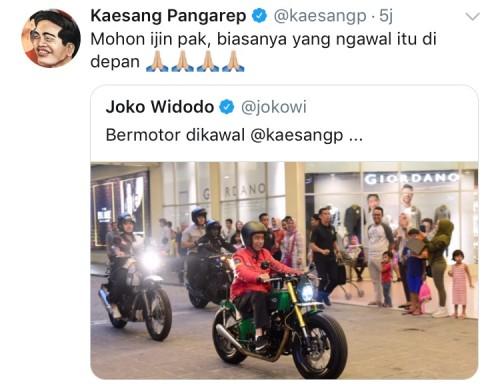 Unggahan Jokowi saat naik motor mendapatkan tanggapan dari Kaesang. (Foto: screenshoot Instagram)