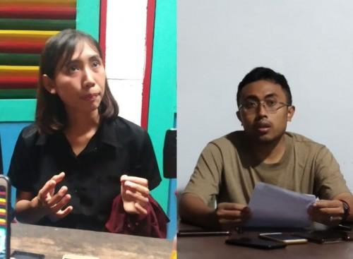 Kika: Pendamping korban dugaan pelecehan seksual, Dina Putri Pertiwi dan Koordinator MCW, M. Fahrudin