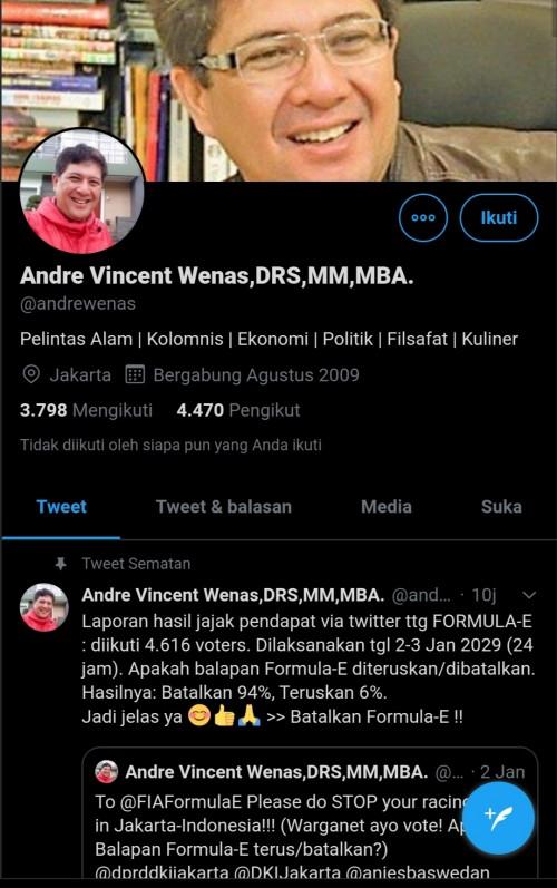 Layar tangkap akun Twitter @andrewenas terkait polling Formula E