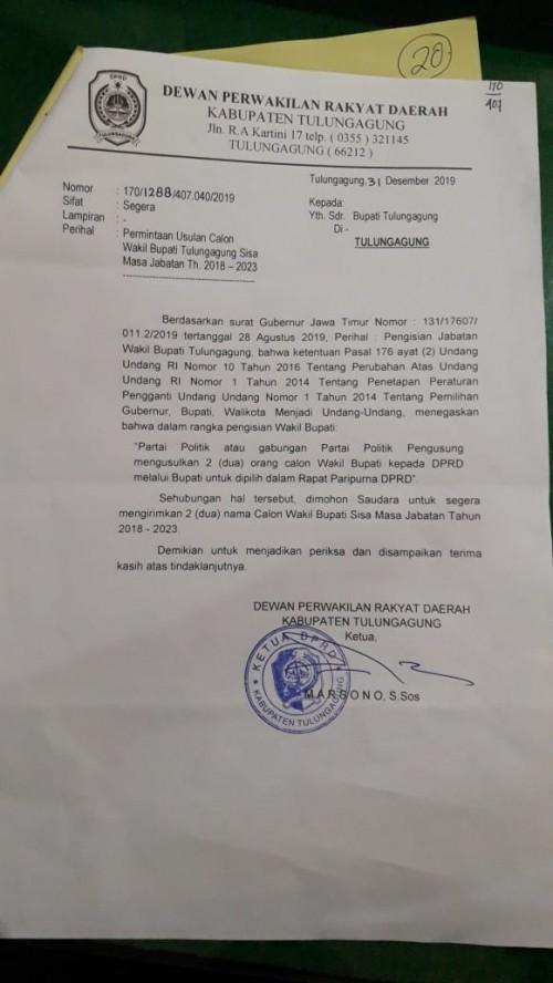 Pemilihan Wakil Bupati, DPRD Sudah Surati Bupati