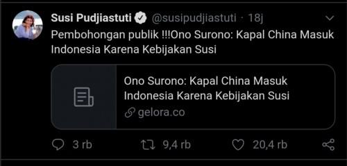 Cuitan Susi Pudjiastuti teekait pernyataan Ono Surono anggota DPR RI dari PDI-Perjuangan (Twitter)