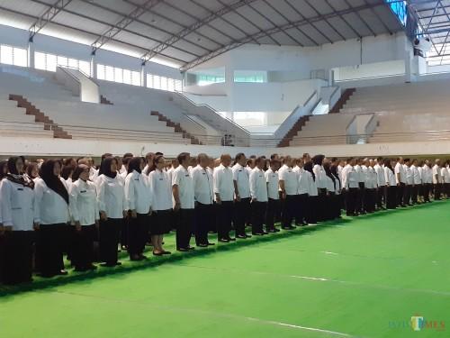 ASN Pemkot Malang saat menjalani pengukuhan jabatan SOTK baru  (Arifina Cahyanti Firdausi/MalangTIMES)