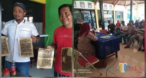 Nurhasyim menunjukkan lalat dan mediasi di kantor desa Tunggangri / Foto : Agus / Tulungagung TIMES