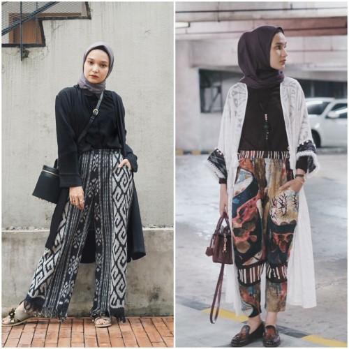 Gaya hijabers pakai celana bermotif. (Foto: Istimewa)