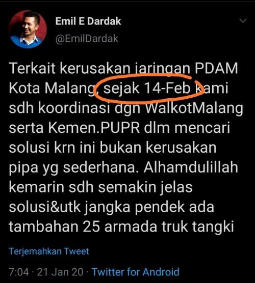 Komentari Krisis Air Kota Malang, Ini Kelucuan Emil Dardak Saat Ketahuan Salah Tanggal