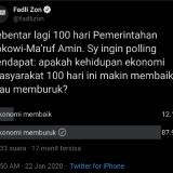 Polling Fadli Zon Terkait 100 Hari Jokowi-Ma'ruf, Warganet: Ekonomi Buruk Kalah dengan Sunda Empire