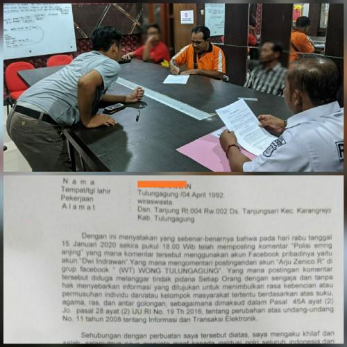 Tiga pelaku saat membuat surat pernyataan minta maaf dan penyesalan. (Foto: Dokpol / Tulungagung TIMES)