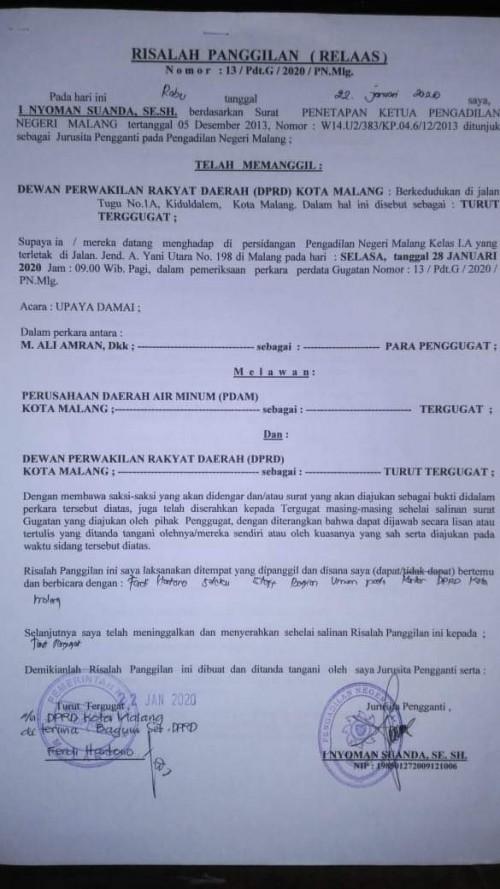Warga Gugat Layanan Air Bersih Perumda Tugu Tirta, DPRD Pun Ikut Diseret