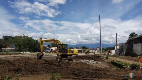 Progress pembangunan exit Madyopuro Tol Mapan (Pipit Anggraeni/MalangTIMES).