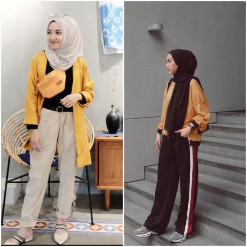 Outfit padu padan warna cerah kuning untuk hijabers (Foto: Istimewa)