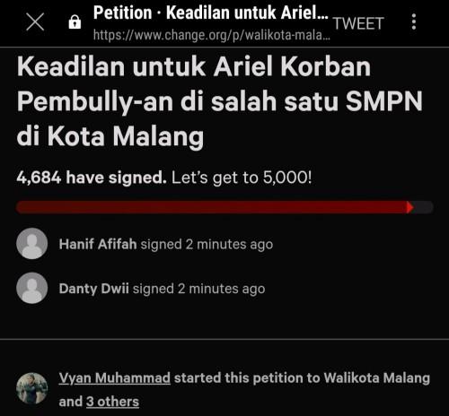 Petisi untuk korban dugaan kasus bullying siswa SMP di Kota Malang (Foto: Istimewa)