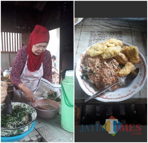 Mak Tum, pemilik Warung Nasi Pecel dan Rujak di Kecamatan Kromengan, Kabupaten Malang. (Foto: Tubagus Achmad/MalangTIMES)