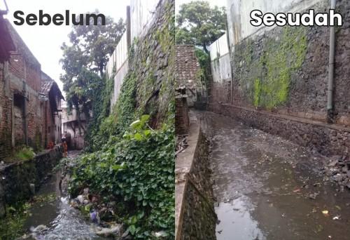 Foto sebelum dan sesudah Sungai Tongan dibersihkan petugas Gerakan Angkat Sedimen Sampah