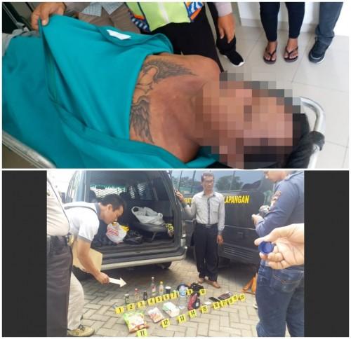 Jenazah Supratikno setelah dievakuasi beserta barang bukti yang ditemukan oleh petugas. (Foto: Istimewa)